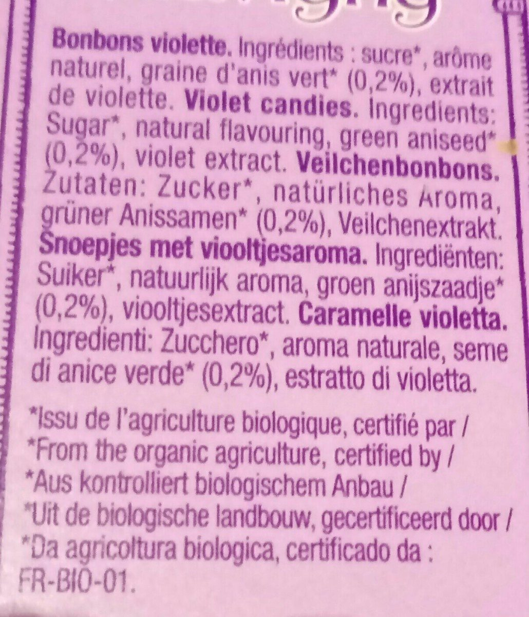 Flavigny Bonbon Violette - Ingredients - fr