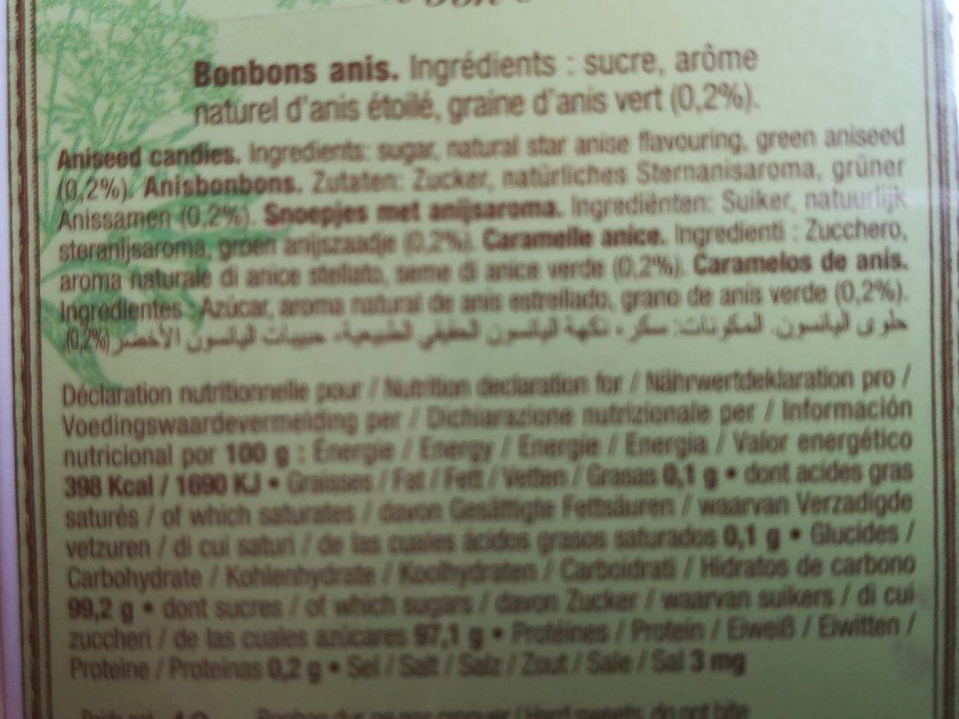 Anis de Flavigny - Nutrition facts - fr