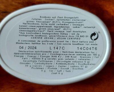 Les Anis de Flavigny cannelle orange - Nutrition facts - fr
