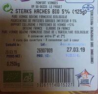 2 Steaks Haches Bio 5% - Ingrediënten