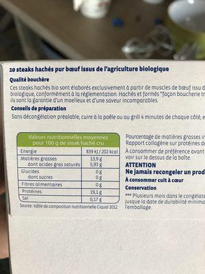 Steak Hache Facon Bouchere - Ingrédients - fr