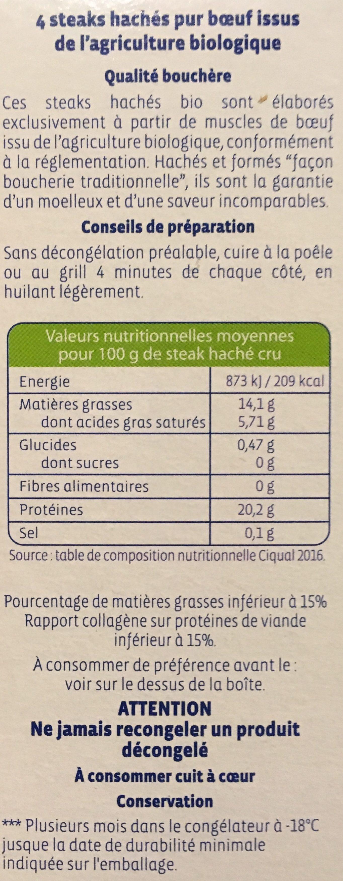 4 steaks hachés surgelés - Ingrediënten - fr