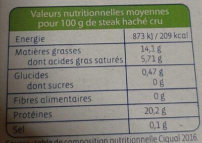 4 steaks hachés surgelés - Voedingswaarden - fr