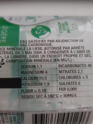 Eau gazeuse légère - Ingrédients - fr