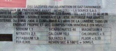 EAU FORTE 1.5L CELTIC BOUTEILLE PET - Informations nutritionnelles - fr