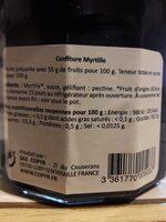 Confiture myrtille - Informations nutritionnelles - fr