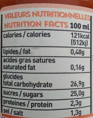 Ketch'up carotte - Voedingswaarden - fr