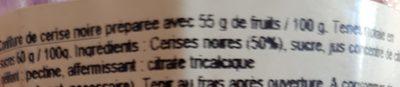 Confiture de Cerise Noire - Ingredients