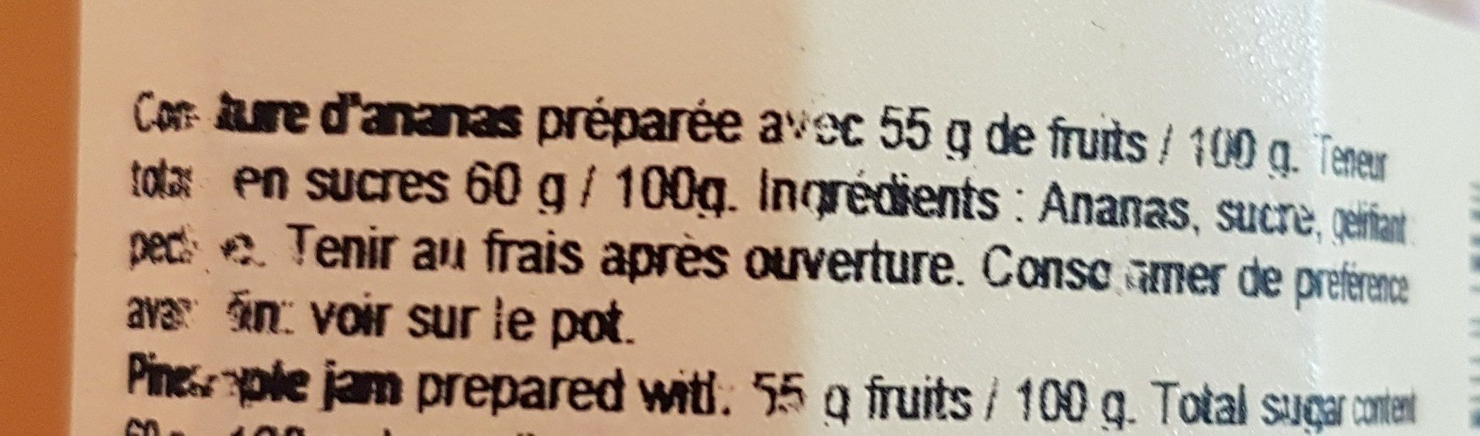 Confiture Ananas - Ingredients