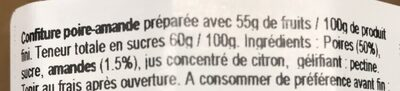Confiture poire amande - Ingrediënten