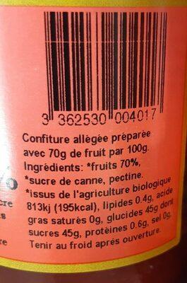 Confiture biologique allegee en sucres - Nährwertangaben