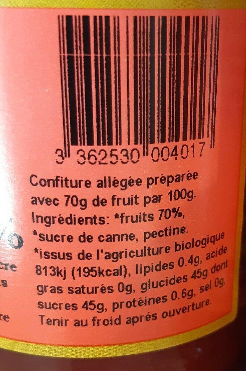 Confiture biologique allegee en sucres - Nährwertangaben - fr
