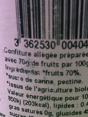 Confiture biologique allegee en sucre cuisson au chaudron - Inhaltsstoffe
