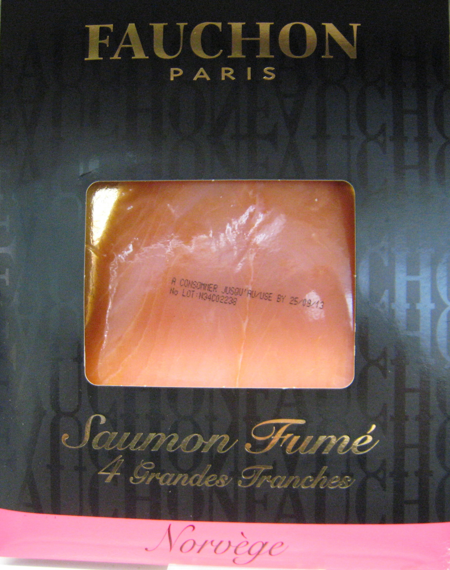 Saumon fumé 4 grandes tranches Norvège Fauchon - Producto