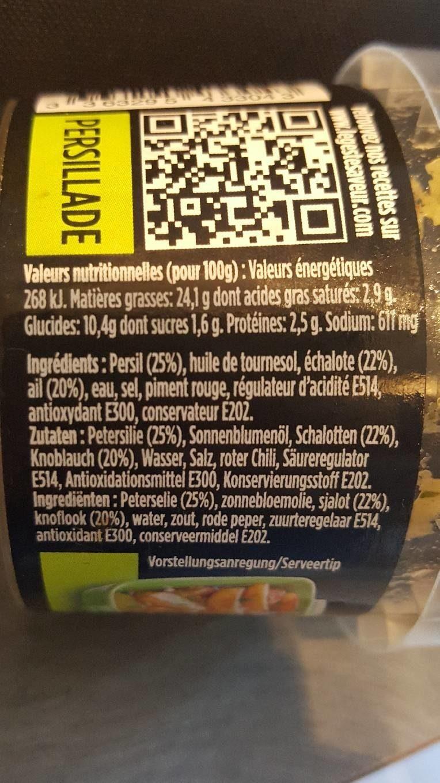 Persillade - Informations nutritionnelles - fr