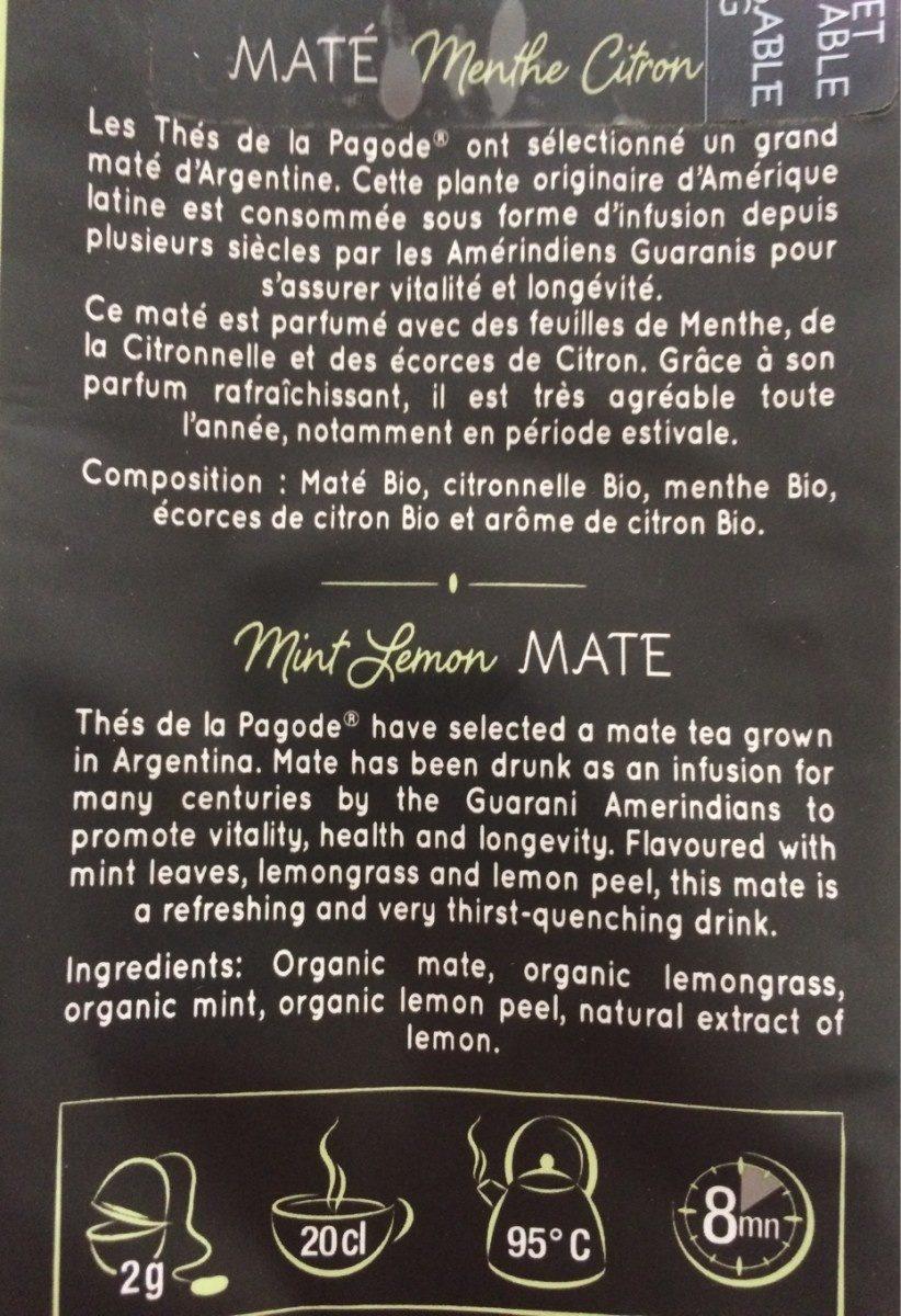 The MATE MENTHE CITRON BIO - Ingrediënten