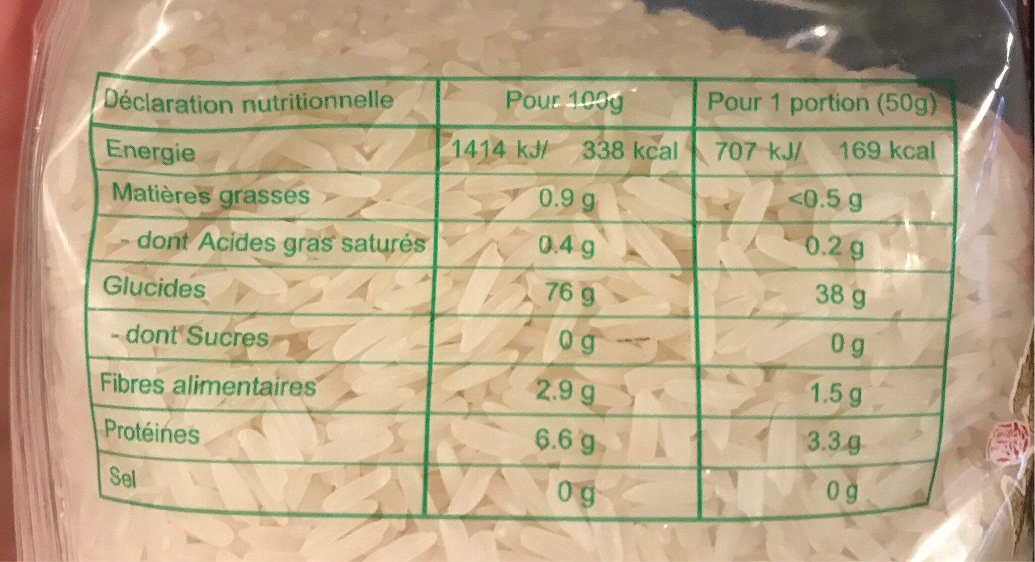 Riz Jasmin Extra Parfume - Nutrition facts - fr