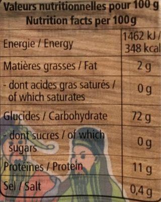 Udon - Informations nutritionnelles - fr