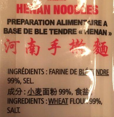 Henan noodles - Ingrediënten
