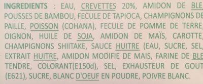 Raviolis aux crevettes congeles (3 couleurs) - Ingredients