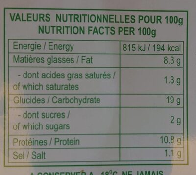Raviolis aux crevettes et à la ciboulette - Nutrition facts - fr