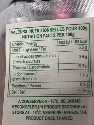 Mini raviolis superieur aux crevettes - Nutrition facts - fr