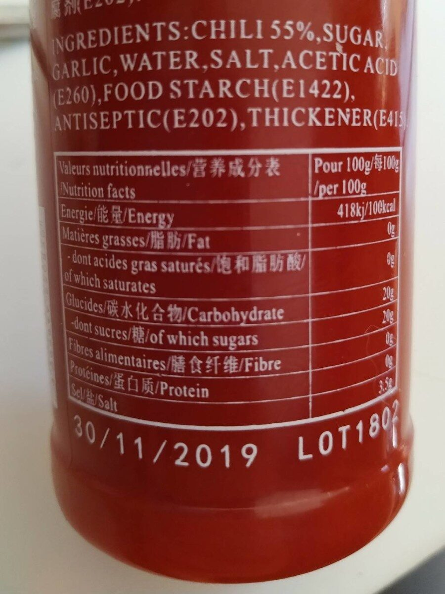 Sauce de piment sriracha - Nährwertangaben