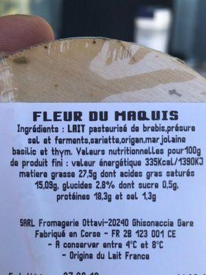 Fleur du maquis - Ingrediënten