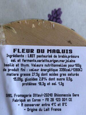 Fleur du maquis - Voedingswaarden