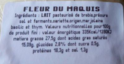 Frais du Maquis - Ingrédients - fr