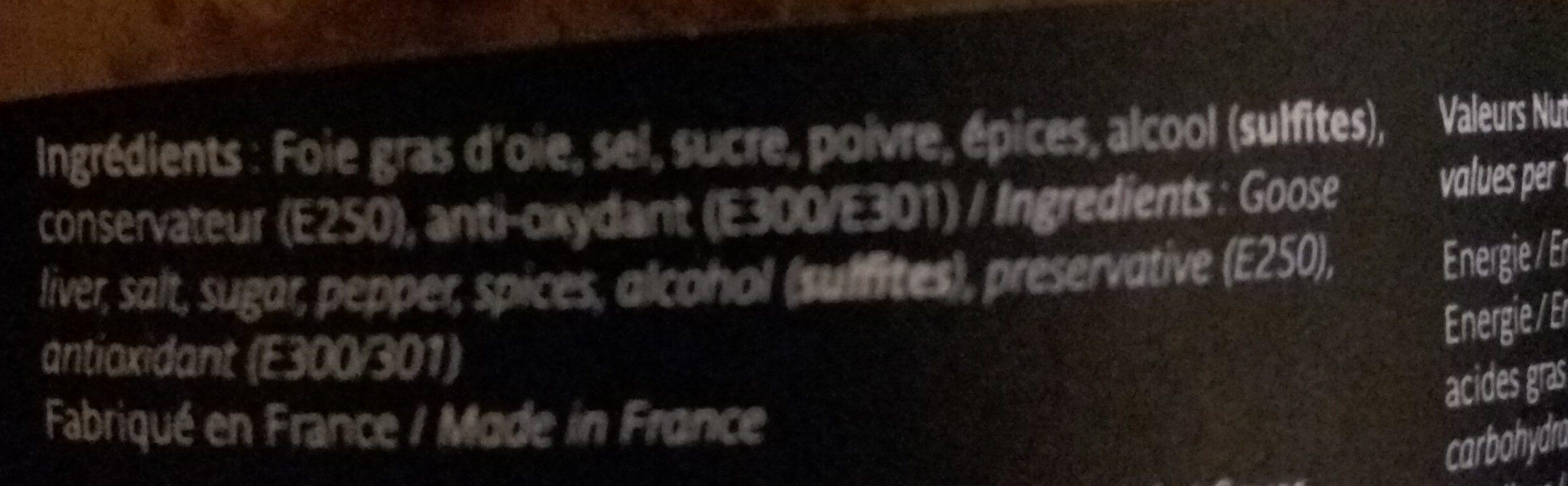 Foie Gras D'oie Entier - Ingredients - fr