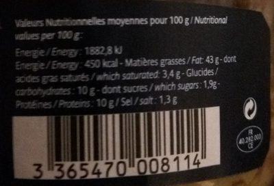 Foie Gras D'oie Entier - Nutrition facts - fr