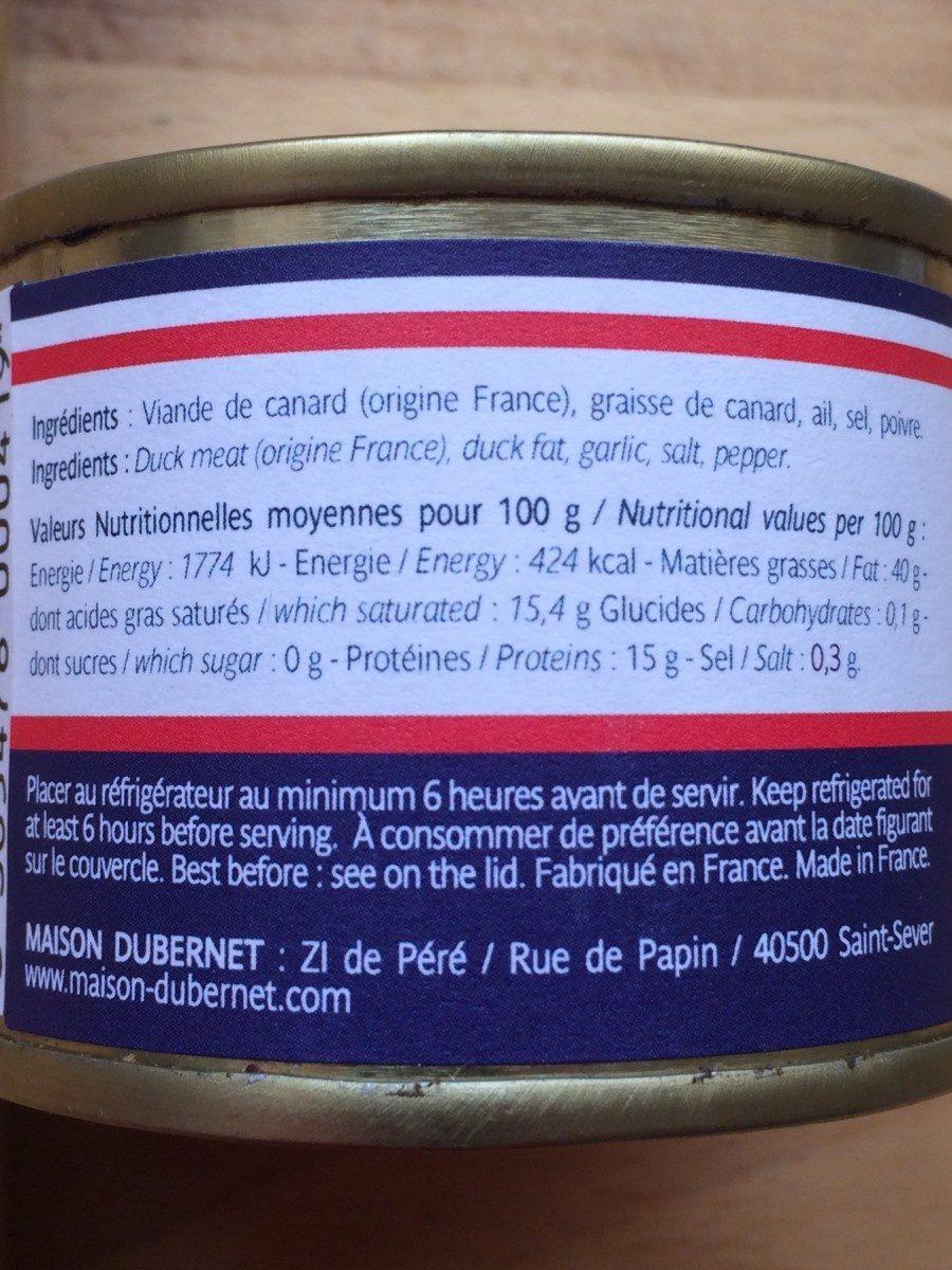 Rillette de canard - Ingrédients - fr