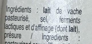 Saveur d'Antan (20% MG) - Ingrédients