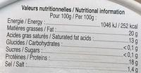 Saveur d'Antan (20% MG) - Informations nutritionnelles - fr