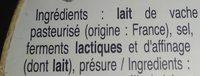 Camembert  ♦ Mariotte - Ingrédients - fr
