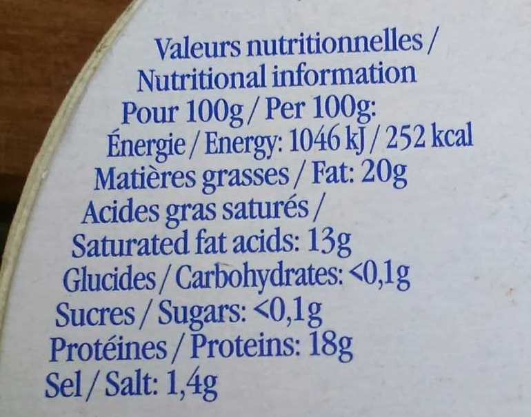 Camembert (20% MG) - Informations nutritionnelles - fr