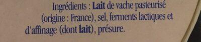 Camembert caractère Vieux Porche - Ingrédients - fr