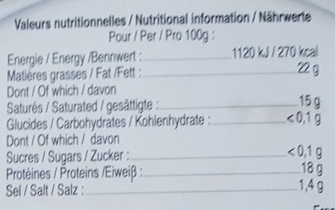 Coulommiers Le Berger - Informations nutritionnelles - fr