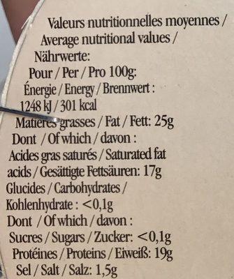 Camembert de Caractère (25% MG) - Informations nutritionnelles