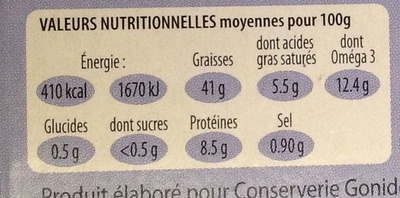 Foie de morue - finement fumé - Nutrition facts - fr