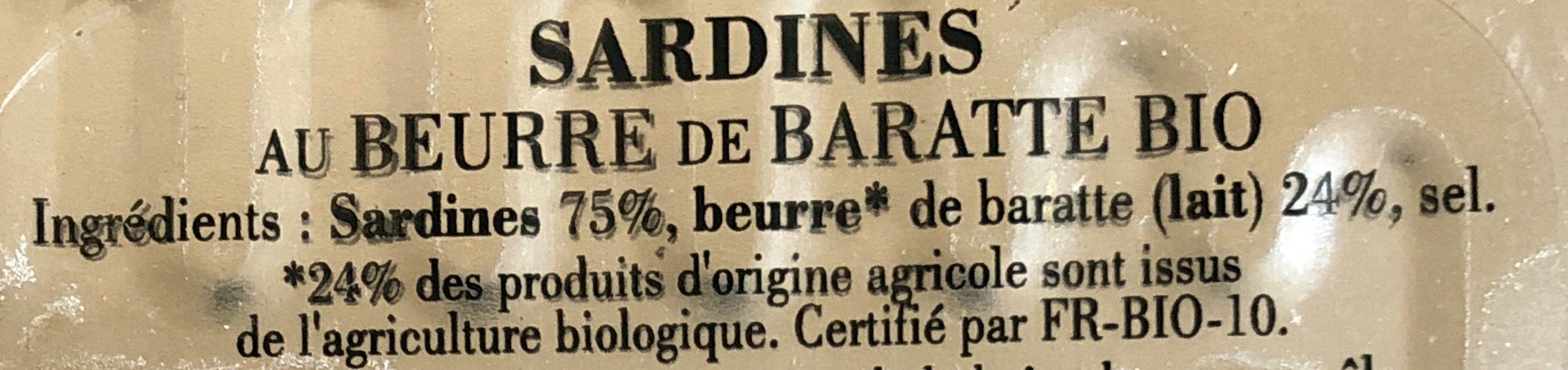 Sardines au Beurre de Baratte Bio - Ingrédients - fr