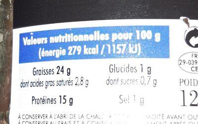 Rillettes De Thon Au Poivre Vert - Informations nutritionnelles - fr