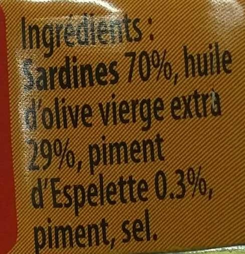 Sardinettes ® au piment d'Espelette à l'huile d'olive - Ingrediënten - fr