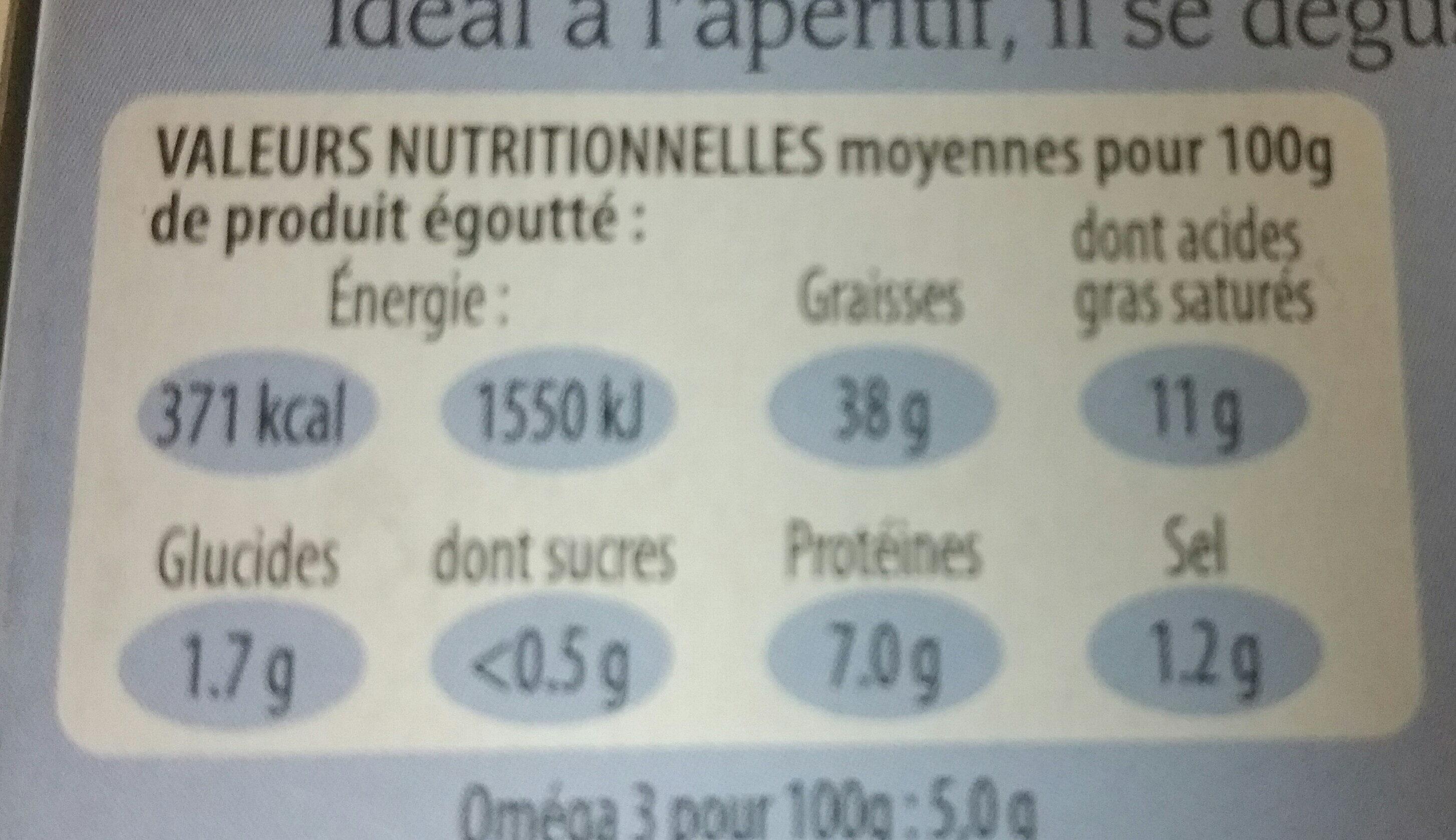 Foie de morue - Informations nutritionnelles