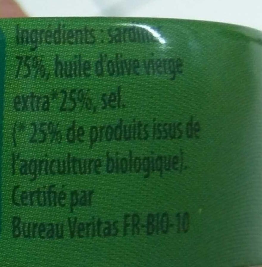 Sardines à l'huile d'olive Bio vierge extra - Ingrédients - fr