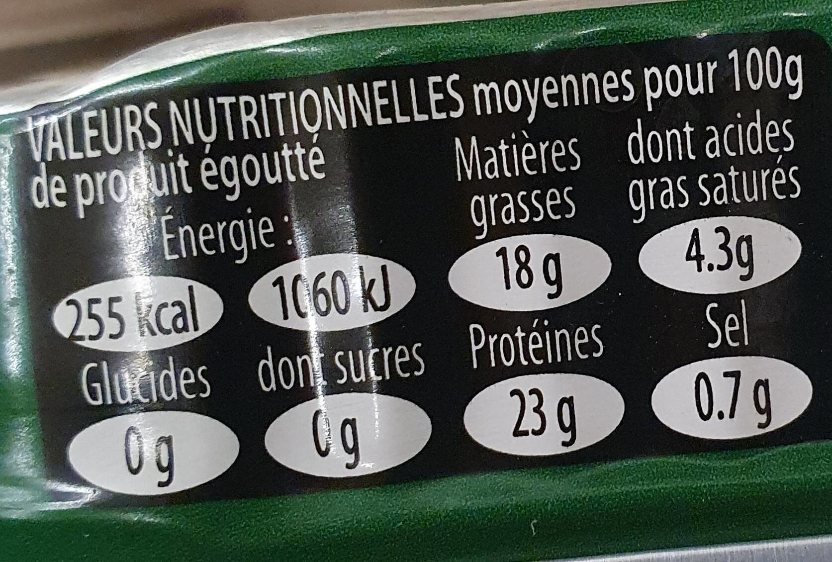 Sardines à l'huile d'olive Bio vierge extra - Informations nutritionnelles - fr