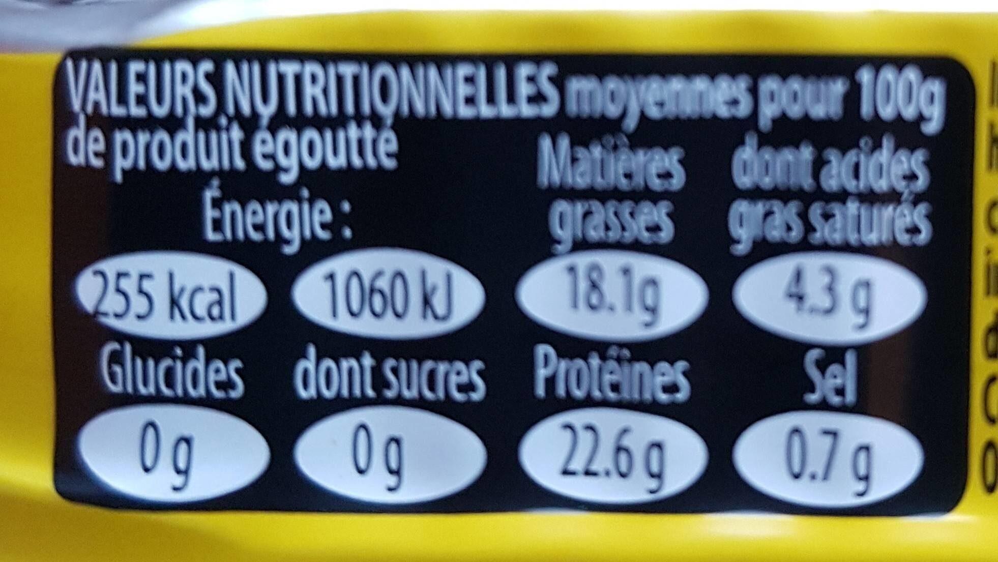 Sardine - Nutrition facts - fr