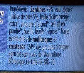 Sardines aux algues Bio de Bretagne - Ingrediënten
