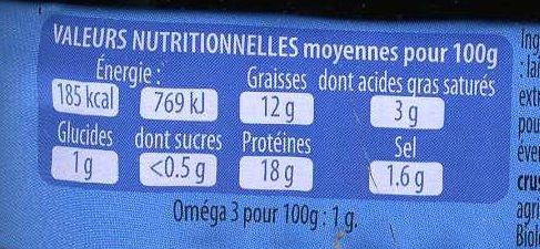 Sardines aux algues Bio de Bretagne - Voedingswaarden